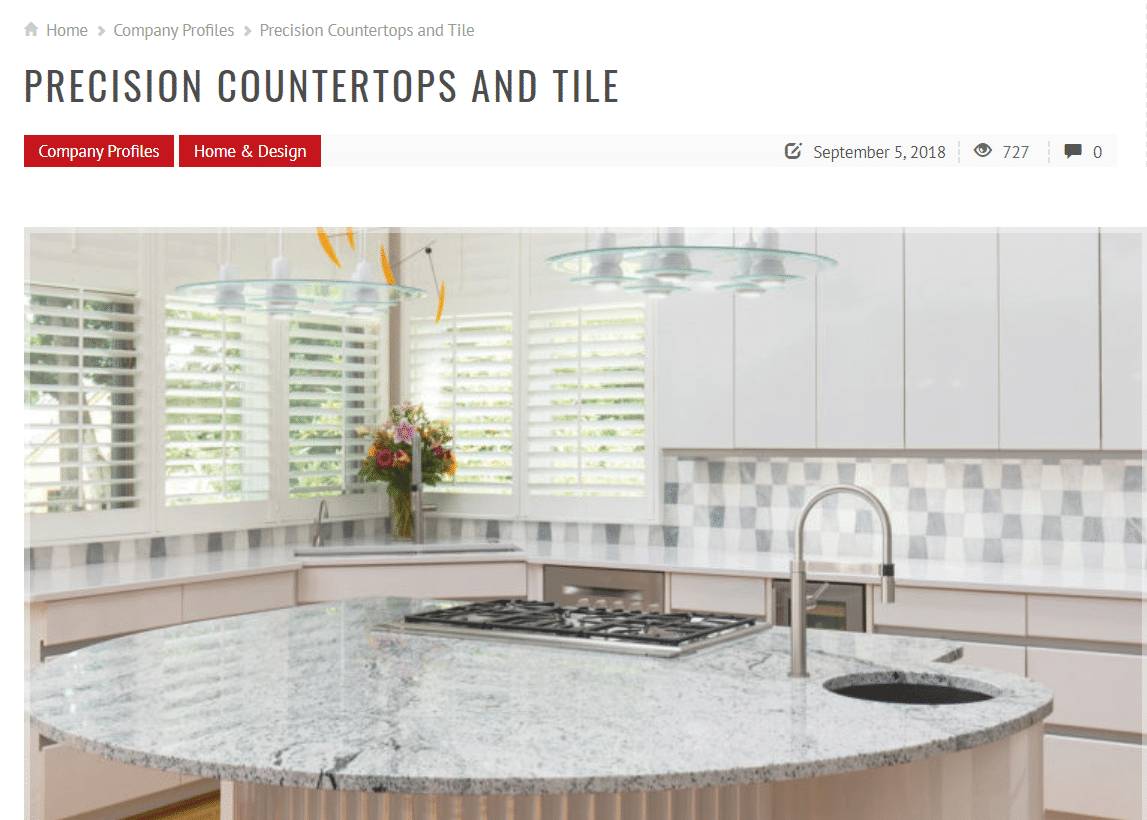 Precision Countertops & Tile in Kansas City Home & Style Magazine